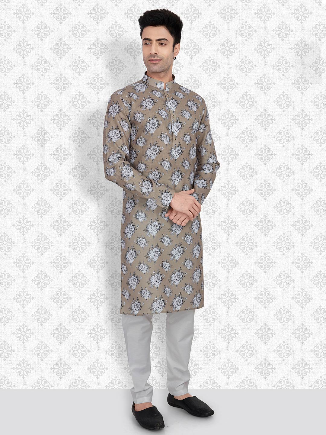 Olive cotton kurta suit for mens?imgeng=w_400