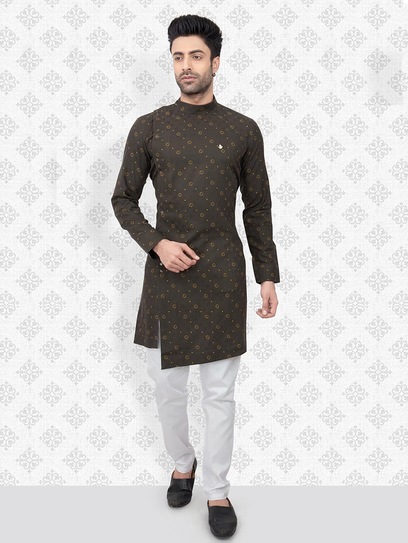 Olive cotton printed kurta with churidar?imgeng=w_400