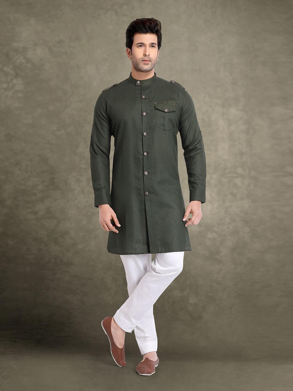 Olive cotton solid festive kurta suit?imgeng=w_400