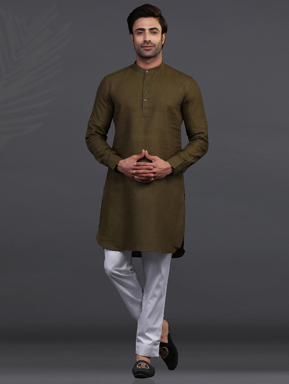 Olive linen kurta pajama for festive?imgeng=w_400