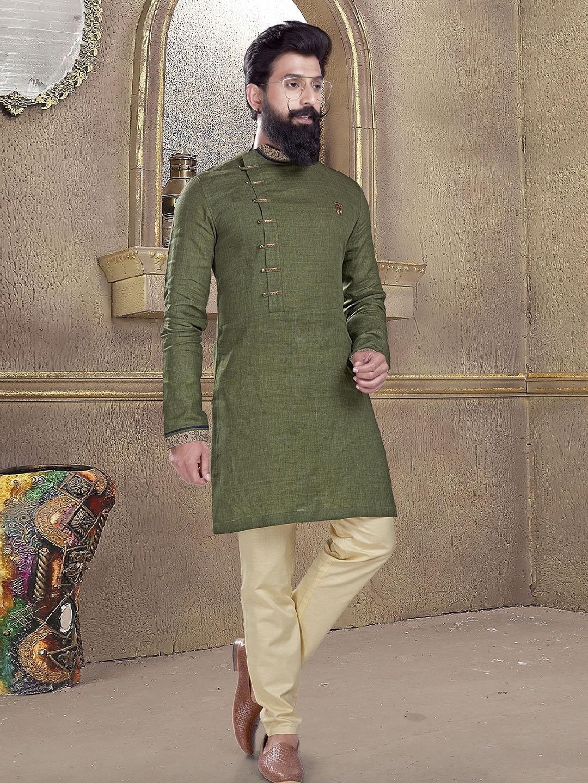 Olive plain kurta suit?imgeng=w_400