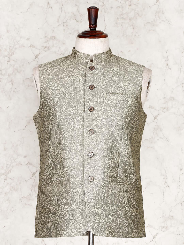 Olive thread woven cotton silk party wear waistcoat?imgeng=w_400