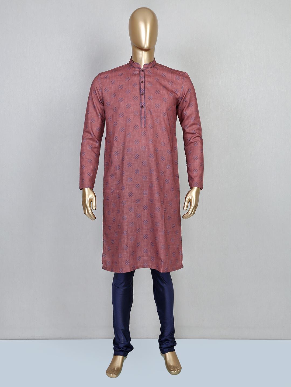 Onion pink printed kurta suit in cotton?imgeng=w_400