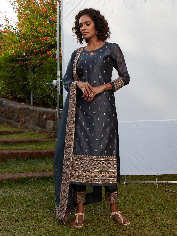 Opulent charcoal grey cotton silk punjabi style festive wear pant suit?imgeng=w_400