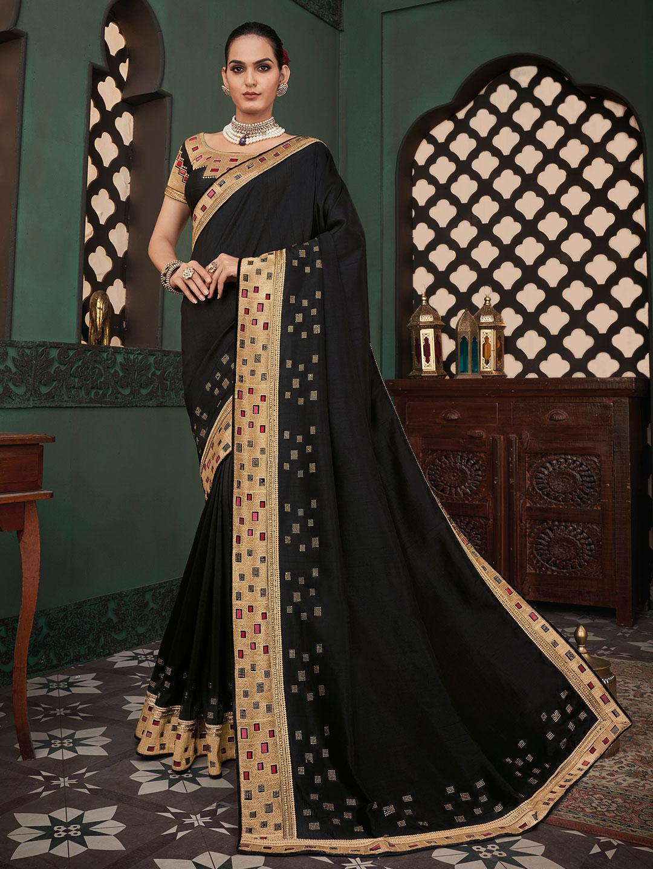 Opulent cotton silk festive wear saree in black?imgeng=w_400
