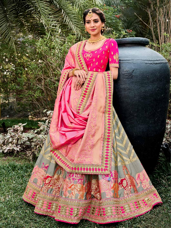 Opulent grey semi stitched lehenga choli for wedding ceremonies?imgeng=w_400