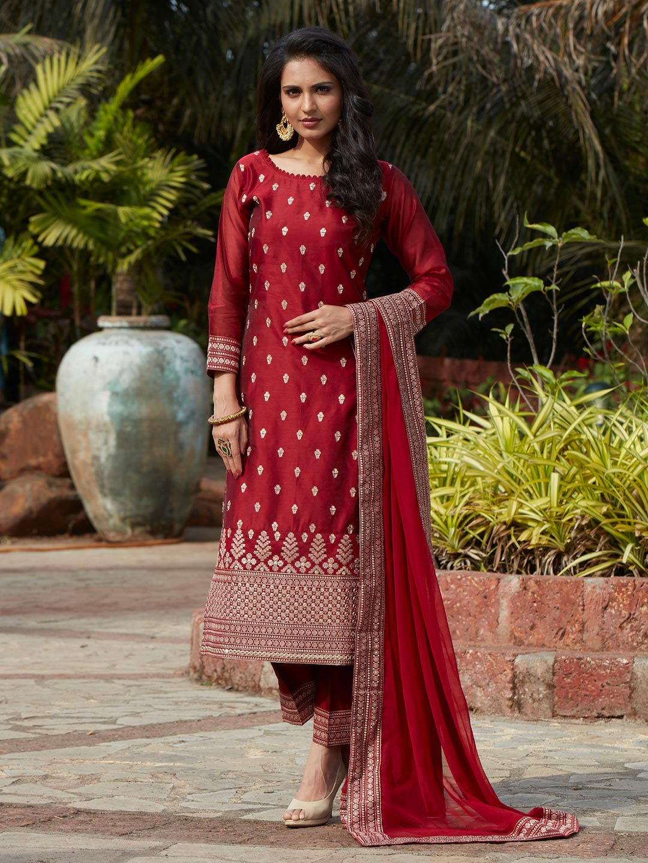 Opulent maroon cotton silk punjabi style festive wear pant suit?imgeng=w_400