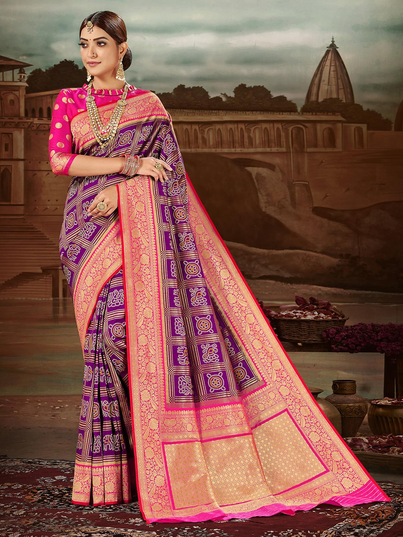 Opulent purple banarasi silk wedding wear saree?imgeng=w_400