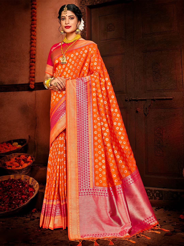 Orange banarasi silk exclusive wedding saree?imgeng=w_400