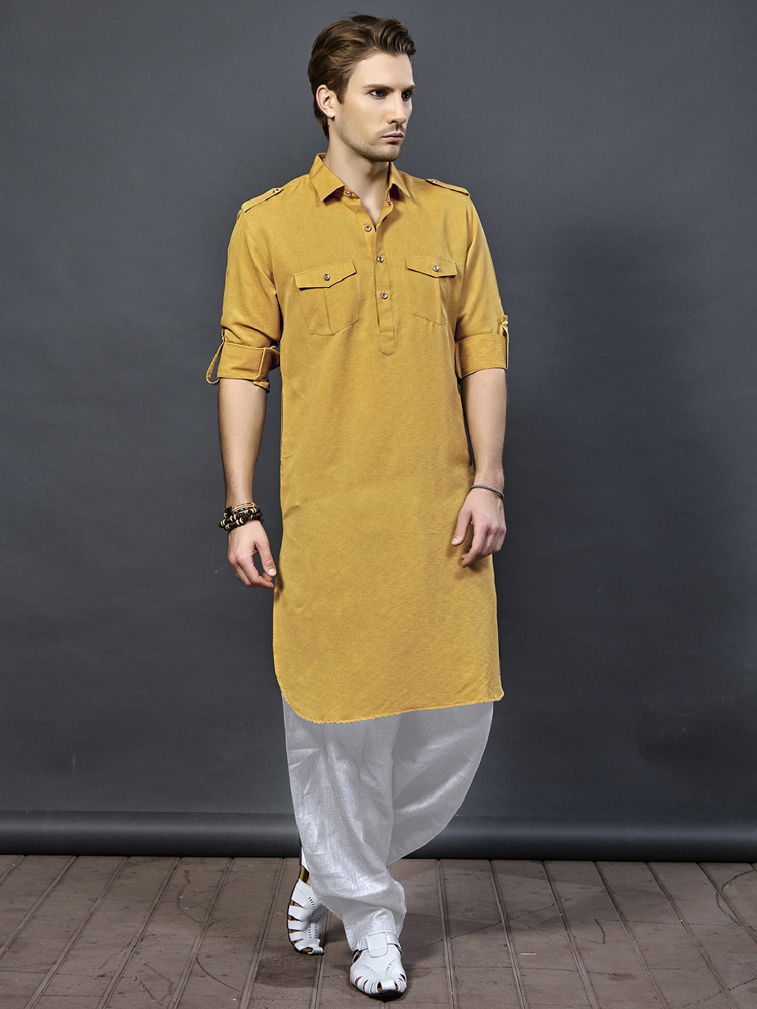 Orange color pathani suit for festive wear?imgeng=w_400