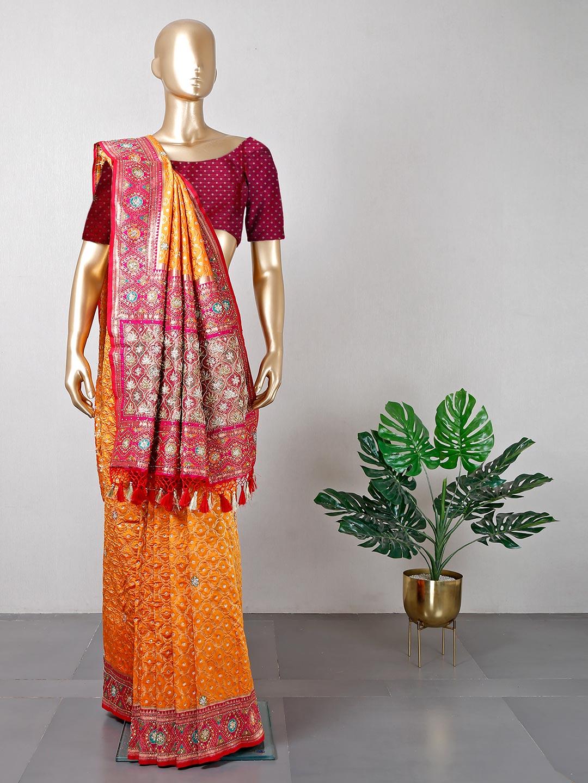 Orange cotton silk saree ideal for wedding?imgeng=w_400