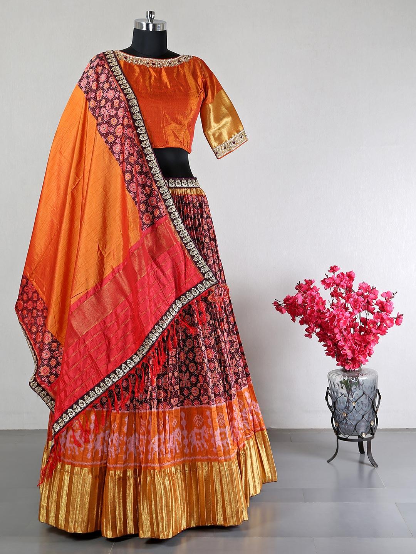 Orange raw silk beautiful wedding lehenga choli?imgeng=w_400