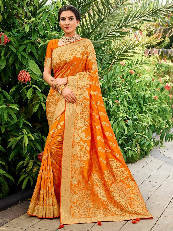 Orange saree for wedding in banarasi silk?imgeng=w_400