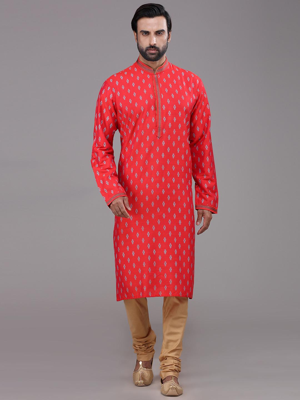 Orange silk printed kurta suit for festive?imgeng=w_400