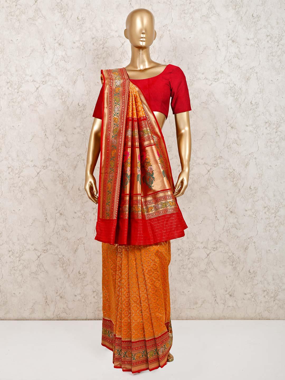 Orange stunning banarasi silk wedding saree?imgeng=w_400
