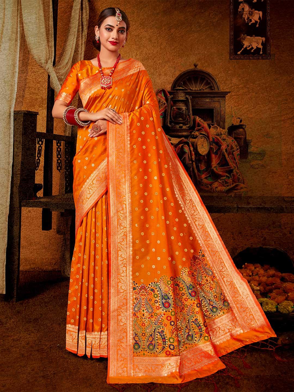 Orange wedding wear banarasi silk saree?imgeng=w_400