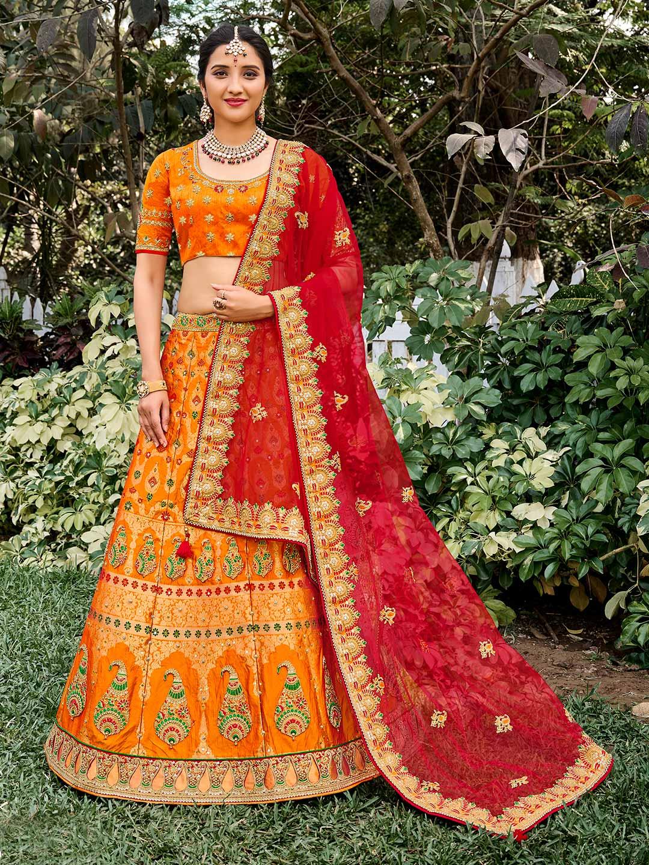 Orange wedding wear semi stitched lehenga choli?imgeng=w_400