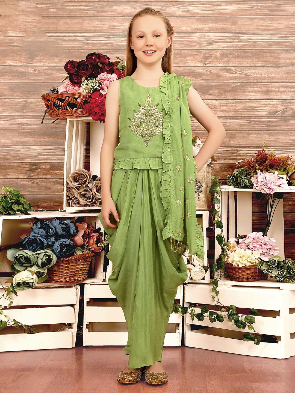 Party wear cotton silk light green dhoti suit?imgeng=w_400