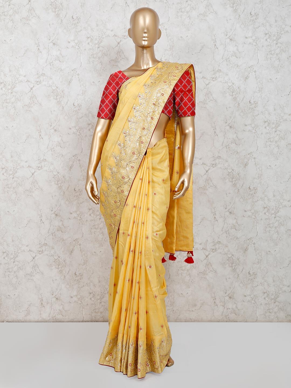 Party wear mustard yellow dola silk saree?imgeng=w_400