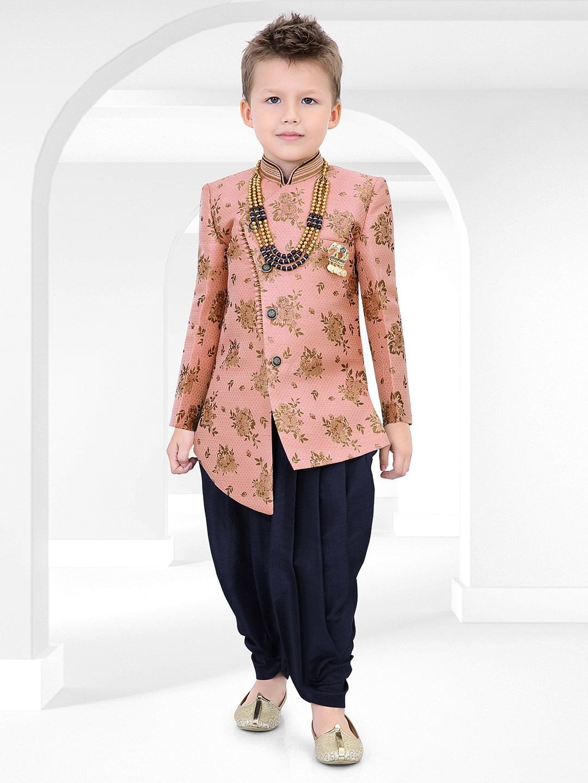 Party wear pink printed raw silk indo western?imgeng=w_400