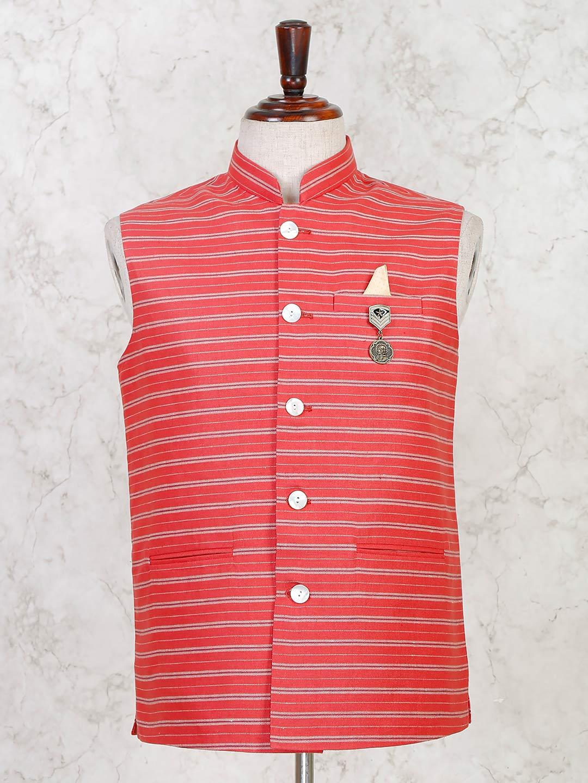Party wear red stripe cotton silk waistcoat?imgeng=w_400