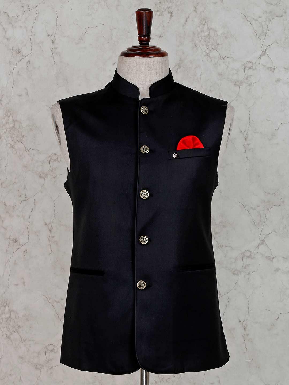 Party wear solid black waistcoat?imgeng=w_400