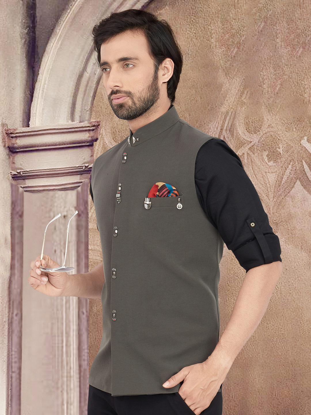 Party wear solid olive cotton waistcoat?imgeng=w_400