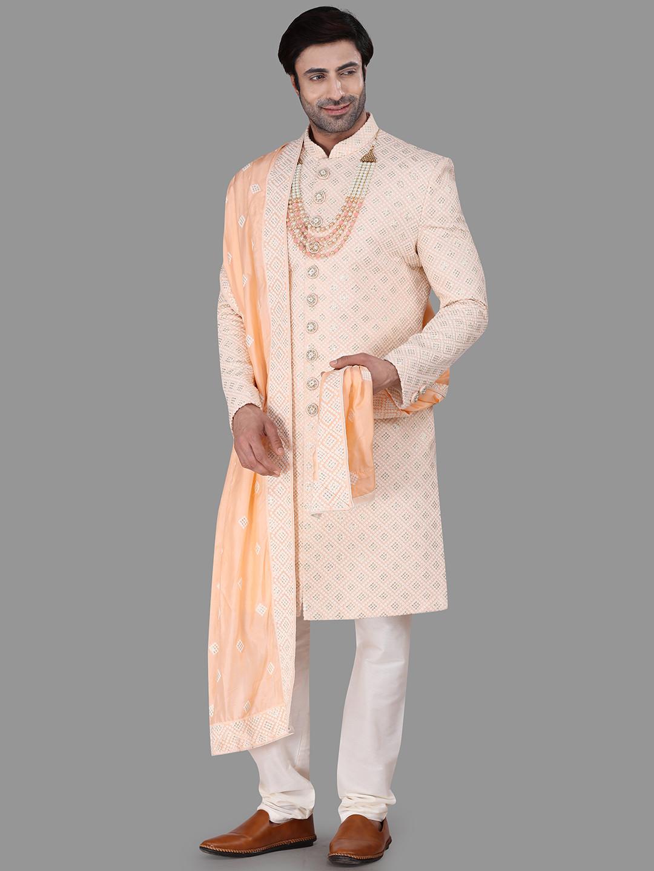 Peach achkan sherwani in silk?imgeng=w_400