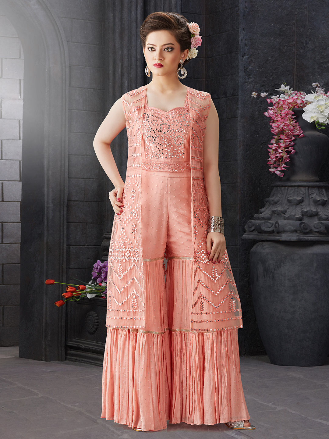 Peach color designer georgette fabric sharara suit?imgeng=w_400