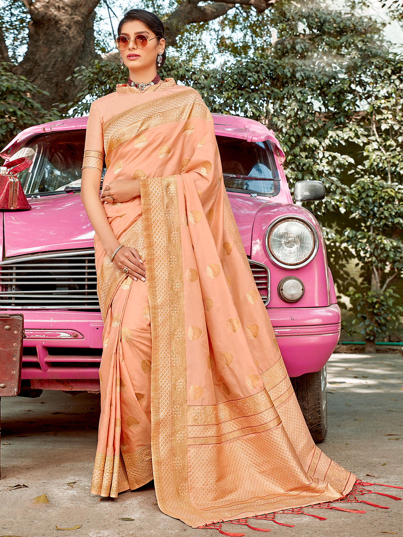 peach colored semi silk wedding wear saree?imgeng=w_400