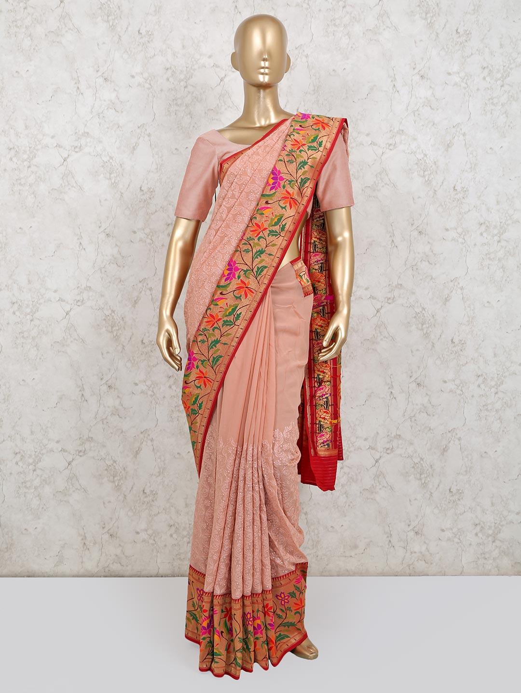 Peach colour georgette wedding saree ?imgeng=w_400