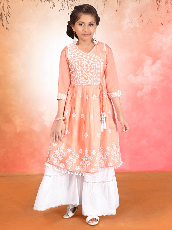 Peach cotton silk festive wear girls sharara suit?imgeng=w_400