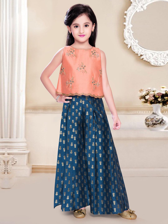 Peach cotton silk wedding wear punjabi palazzo suit?imgeng=w_400