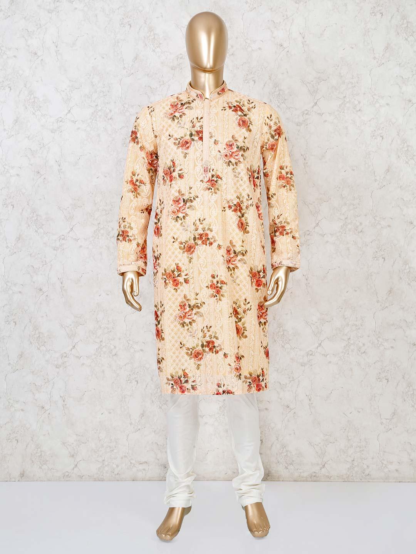 Peach georgette kurta suit in festive?imgeng=w_400