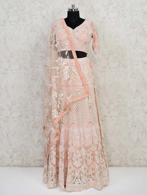 Peach georgette wedding wear designer lehenga choli?imgeng=w_400