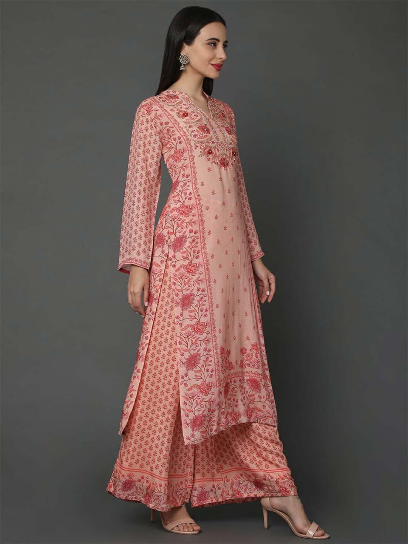 Peach hue pure musleen fabric festive palazzo suit?imgeng=w_400