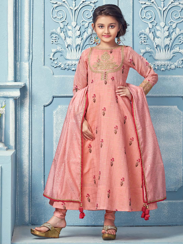 Peach printed pattern cotton party wear anarkali suit?imgeng=w_400