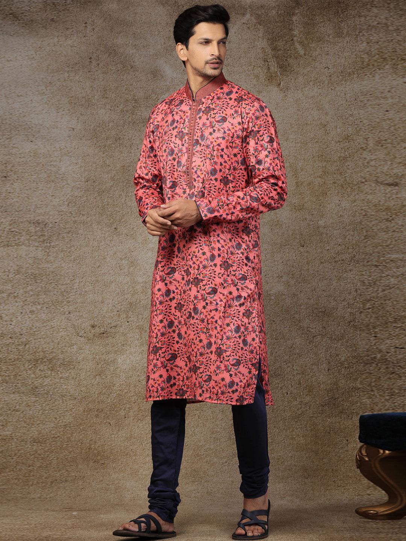 Peach printed silk stand collar kurta suit?imgeng=w_400