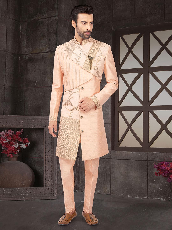 Peach raw silk indo western suit?imgeng=w_400