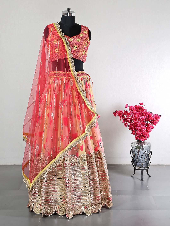 Peach raw silk wedding functions lehenga choli?imgeng=w_400