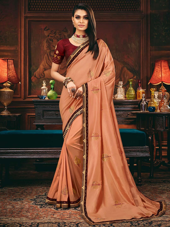 Peach satin silk for wedding function?imgeng=w_400