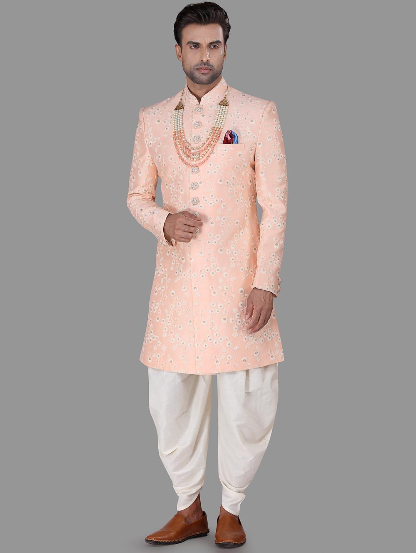 Peach silk mens indo western wedding wear?imgeng=w_400