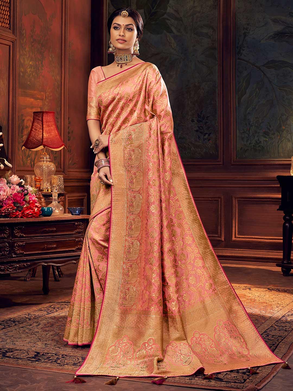 Peach silk saree for wedding days?imgeng=w_400