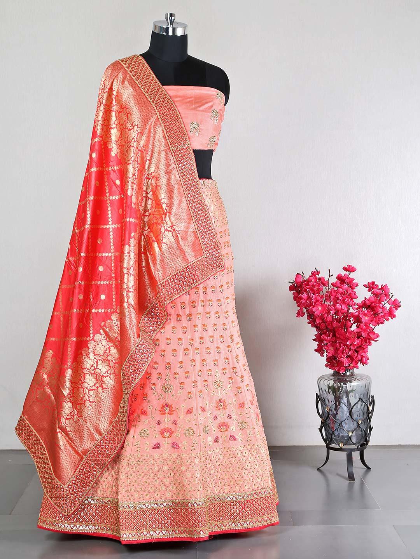 Peach wedding wear unstitched raw silk lehenga choli?imgeng=w_400