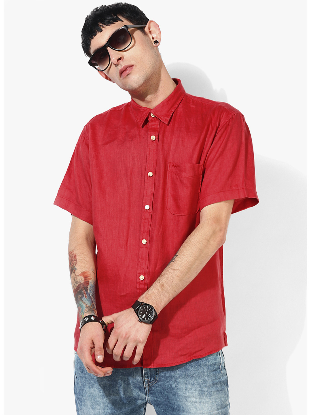 Pepe Jeans red solid shirt?imgeng=w_400