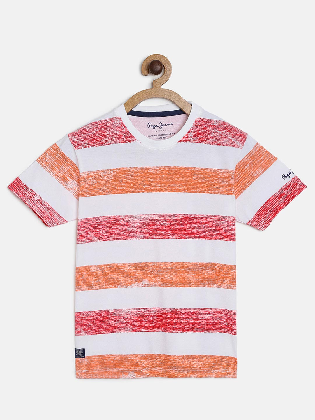 Pepe Jeans stripe red and orange t-shirt?imgeng=w_400
