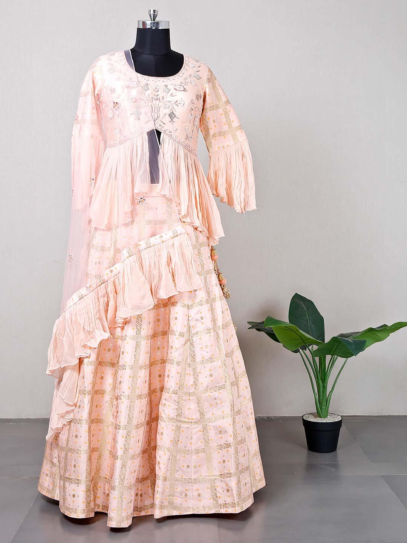 Peplum style peach wedding lehenga choli?imgeng=w_400