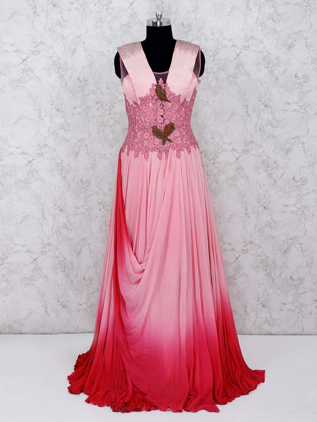 Pink and red shaded cowl style georgette gown?imgeng=w_400