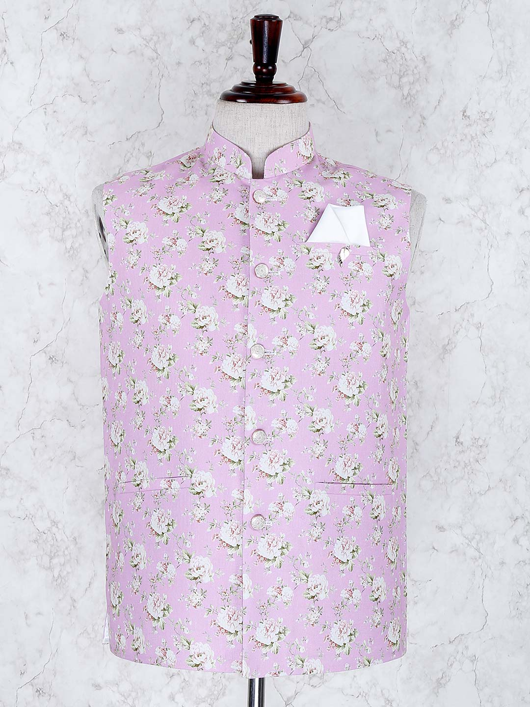 Pink color flower printed terry rayon waistcoat?imgeng=w_400