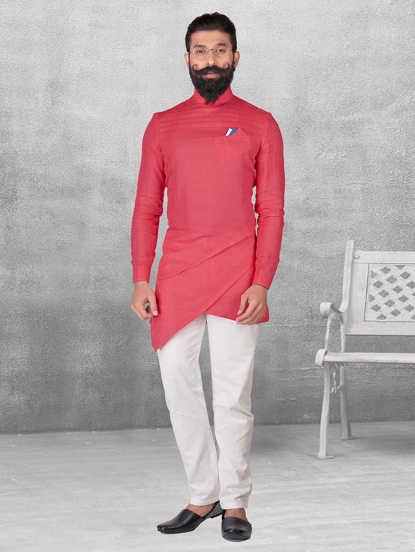 Pink color plain silk kurta suit?imgeng=w_400